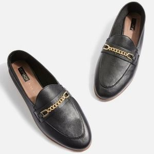Topshop Black Leather Loafers Size 6.5
